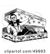 Royalty Free RF Clipart Illustration Of A Vampire Emerging From His Coffin