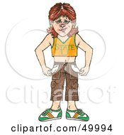 Royalty Free RF Clipart Illustration Of A Broke College Girl Turning Out Her Pockets