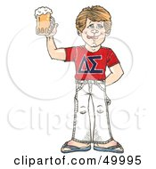 Royalty Free RF Clipart Illustration Of A Blond Frat Boy Holding Up A Beer