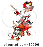 Royalty Free RF Clipart Illustration Of Santa Riding A Bronco In A Rodeo