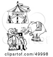 Royalty Free RF Clipart Illustration Of A Digital Collage Of A Circus Big Top Mouse On An Elephant And A Lion Tamer by LoopyLand