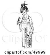 Royalty Free RF Clipart Illustration Of A Smiling Geisha Woman In Her Kimono