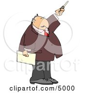Businessman During A Presentation Pointing A Pointer Stick Clipart