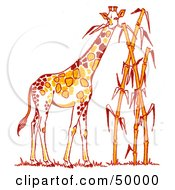 Royalty Free RF Clipart Illustration Of A Tall Giraffe Munching On Leaves Of Tall Bamboo Stalks