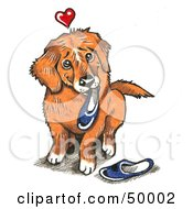 Royalty Free RF Clipart Illustration Of A Dog With A Heart Over His Head Carrying Slippers