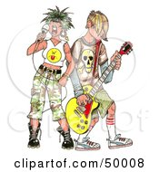 Royalty Free RF Clipart Illustration Of A Rocker Chick Singing While A Band Member Plays A Guitar