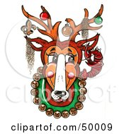 Royalty Free RF Clipart Illustration Of A Mounted New Orleans Reindeer With Ornaments On Its Antlers