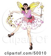 Royalty Free RF Clipart Illustration Of A Dancing Fairy Godmother Spreading Pixie Dust