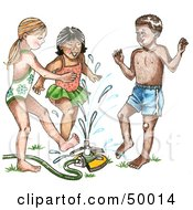Royalty Free RF Clipart Illustration Of A Diverse Group Of Children Playing In A Sprinkler On A Hot Summer Day