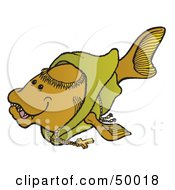Royalty Free RF Clipart Illustration Of A Monk Fish In A Green Robe by Snowy