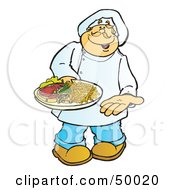 Royalty Free RF Clipart Illustration Of A Friendly Male Chef Carrying A Steak On A Platter by Snowy