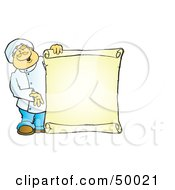 Royalty Free RF Clipart Illustration Of A Friendly Male Chef Holding A Blank Scroll Menu by Snowy