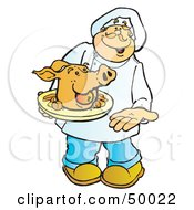 Royalty Free RF Clipart Illustration Of A Friendly Male Chef Carrying A Pigs Head On A Platter by Snowy