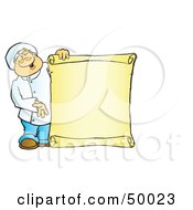 Royalty Free RF Clipart Illustration Of A Friendly Male Chef Holding A Blank Scroll Sign