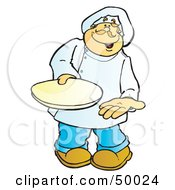 Royalty Free RF Clipart Illustration Of A Friendly Male Chef Carrying A Plate by Snowy