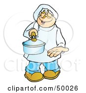 Royalty Free RF Clipart Illustration Of A Friendly Male Chef Holding Out A Sauce Pan by Snowy