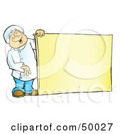 Royalty Free RF Clipart Illustration Of A Friendly Male Chef Holding A Blank Sign Board by Snowy