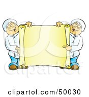 Royalty Free RF Clipart Illustration Of Two Male Chefs Holding A Blank Horizontal Scroll Sign by Snowy