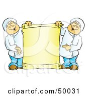 Royalty Free RF Clipart Illustration Of Two Male Chefs Holding A Blank Vertical Scroll Sign by Snowy