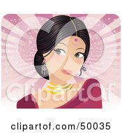 Royalty Free RF Clipart Illustration Of A Pretty Indian Bride In A Pink Dress Looking To The Left by Melisende Vector
