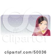 Royalty Free RF Clipart Illustration Of A Beautiful Indian Bride In Pink Glancing Left On A Pastel Purple Background