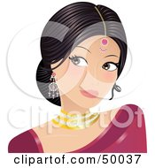 Royalty Free RF Clipart Illustration Of A Gorgeous Indian Bride In A Pink Dress Wearing Jewelery And Looking To The Left by Melisende Vector #COLLC50037-0068