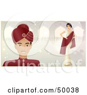 Royalty Free RF Clipart Illustration Of A Happy Indian Bride And Groom On A Magical Pastel Background