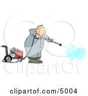 Man Cleaning With A Heavy Duty Gas Powered Pressure Washer Clipart