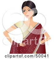 Royalty Free RF Clipart Illustration Of A Beautiful Indian Bride In A Beige Dress And Red Shawl by Melisende Vector #COLLC50041-0068
