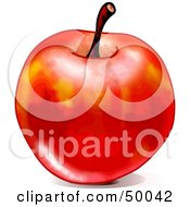 Royalty Free RF Clipart Illustration Of A Shiny Waxed Red Apple With A Stem On A White Background