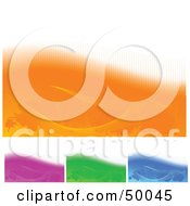Royalty Free RF Clipart Illustration Of A Digital Collage Of Orange Purple Green And Blue Backgrounds With White On The Tops