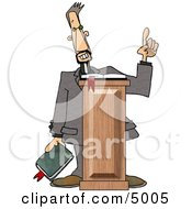 Christian Preacher Holding A Bible And Giving A Speech From Behind A Podium Clipart