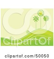 Royalty Free RF Clipart Illustration Of A Summer Green Background Of Flowers And Trees Growing On Rolling Hills by Pushkin