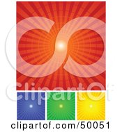 Royalty Free RF Clipart Illustration Of A Digital Collage Of Red Blue Green And Yellow Radial Burst Backgrounds