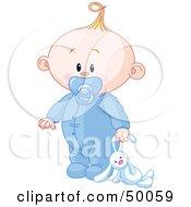 Royalty Free RF Clipart Illustration Of A Baby Boy Dragging A Stuffed Bunny