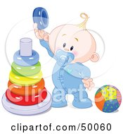 Royalty Free RF Clipart Illustration Of A Baby Boy Playing With A Ring Pyramid