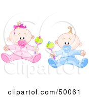 Royalty Free RF Clipart Illustration Of A Baby Boy And Girl Playing With Rattles