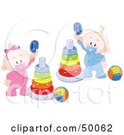 Royalty Free RF Clipart Illustration Of A Twin Baby Boy And Girl Playing With Ring Pyramids by Pushkin