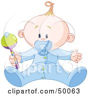 Royalty Free RF Clipart Illustration Of A Baby Boy Playing With A Rattle