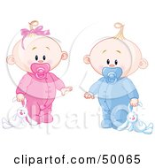 Royalty Free RF Clipart Illustration Of A Baby Girl And Boy Dragging A Stuffed Bunny by Pushkin