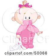 Royalty Free RF Clipart Illustration Of A Baby Girl Dragging A Stuffed Bunny