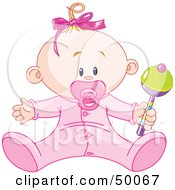 Royalty Free RF Clipart Illustration Of A Baby Girl Playing With A Rattle