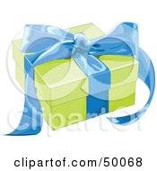 Royalty Free RF Clipart Illustration Of A Green Gift Box Sealed With A Blue Ribbon