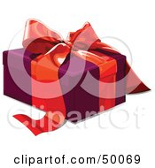 Royalty Free RF Clipart Illustration Of A Purple Gift Box Sealed With A Red Ribbon