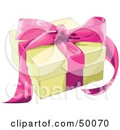 Royalty Free RF Clipart Illustration Of A Yellow Gift Box Sealed With A Pink Ribbon