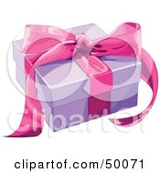 Royalty Free RF Clipart Illustration Of A Purple Gift Box Sealed With A Pink Ribbon