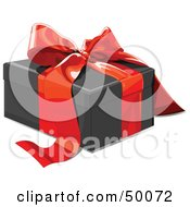 Royalty Free RF Clipart Illustration Of A Black Gift Box Sealed With A Red Ribbon