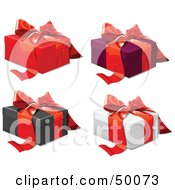 Royalty Free RF Clipart Illustration Of A Digital Collage Of Gift Boxes Sealed With Red Ribbons