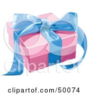 Royalty Free RF Clipart Illustration Of A Pink Gift Box Sealed With A Blue Ribbon