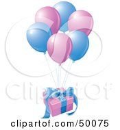Royalty Free RF Clipart Illustration Of A Birthday Gift Floating Away With Matching Balloons